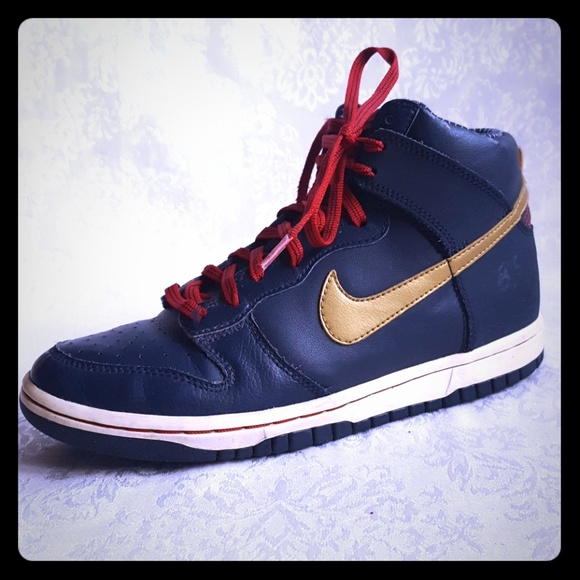 blue and red nike high tops